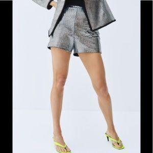 ZARA sequin disco mirror shorts